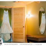 Wedding Dress Hanging on Door - Ottawa Photographer