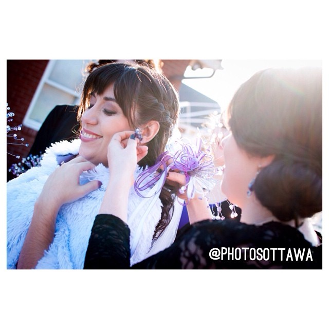 #wedding in #Ottawa - maid of honour fixing #brides #earring #orchardview #winter wedding #photographer #instawedding #picoftheday #perfect #love